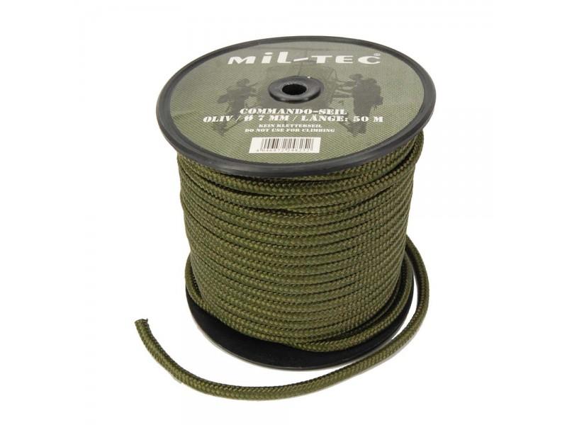 Bobine de paracorde vert olive de 50 m en 7 mm