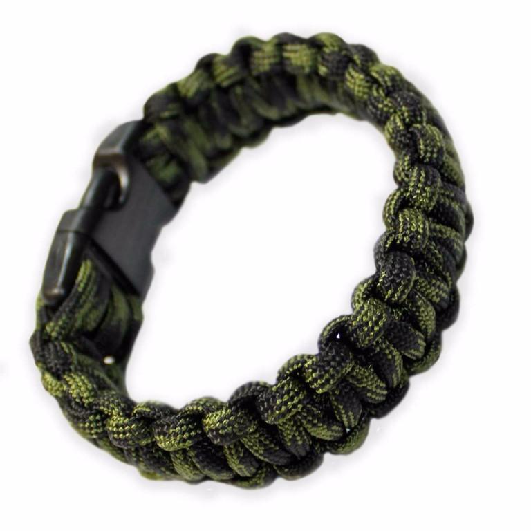 Bracelet paracorde Bulldog Tactical Vert et noir taille M