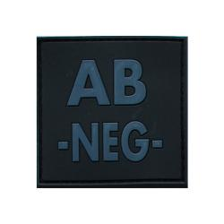 Patch groupe sanguin gomme 3D noir AB -