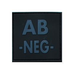 Patch groupe sanguin gomme 3D noir AB -