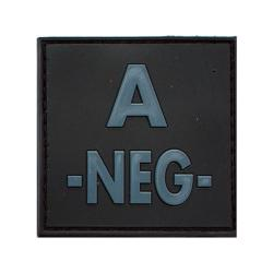 Patch groupe sanguin en gomme 3D noir A -
