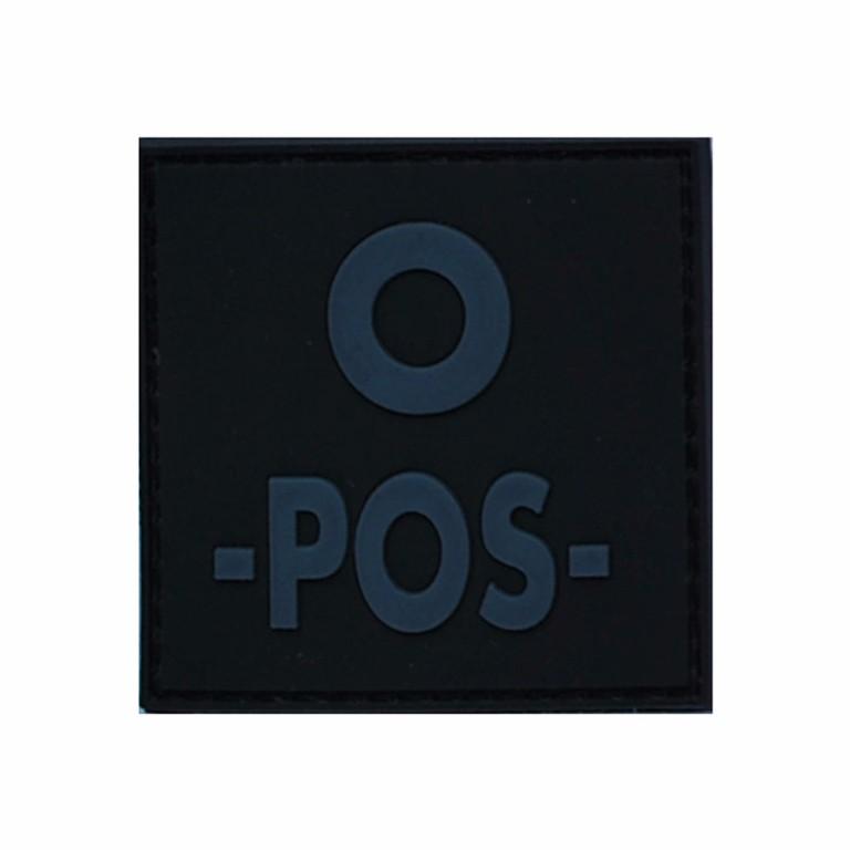 Patch groupe sanguin gomme 3D noir O +