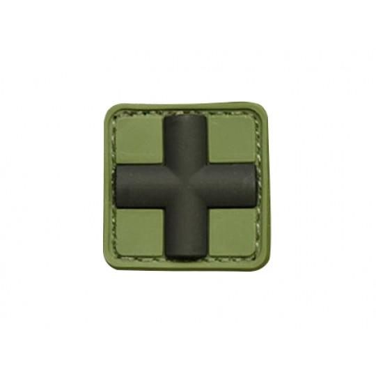 Patch 3D gomme souple croix médicale vert OD